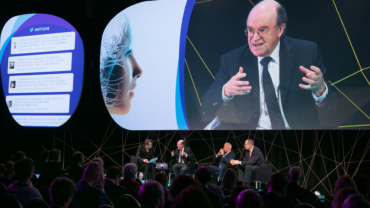 CEOs' panel at MTF 2018: Jean-Luc Bélingard speaking with AdvaMed's Nadim Yared and Siemens Healthineers' CEO Bernd Montag to his right.