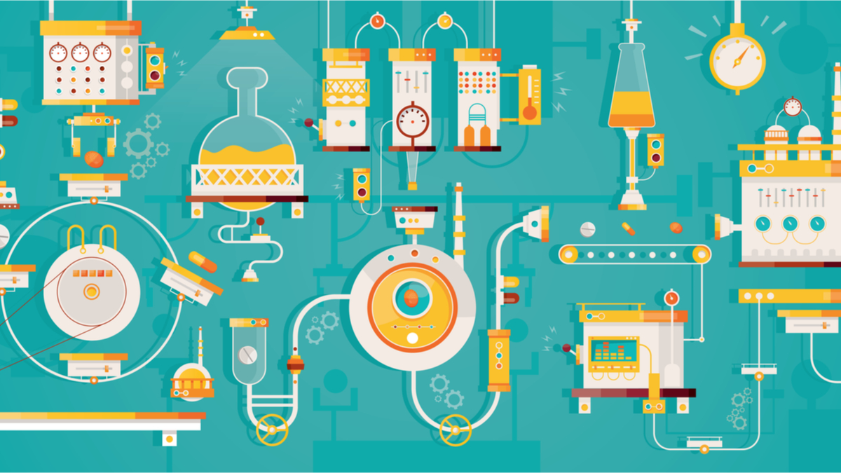 Modern vector illustration of pharmaceticual factory. Manufacturing of pharmacy. Technology of healthcare industry.