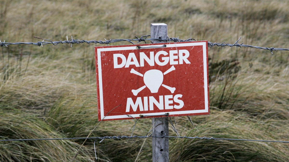 Landmines sign, danger minefield in the Falklands